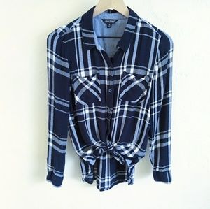 Lucky Brand Navy Blue & White Plaid Button Down